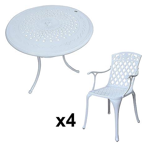 Weißes Anna 80cm Rundes Gartenmöbelset Aluminium - 1 Weißer ANNA Tisch + 4 Weiße ROSE Stuhle