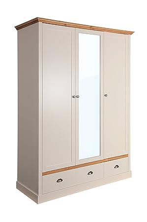 Steens Furniture Sandringham 107/242 Kleiderschrank mit 3 Turen und 2 Schubladen, Holz, grau, 58 x 148 x 192 cm