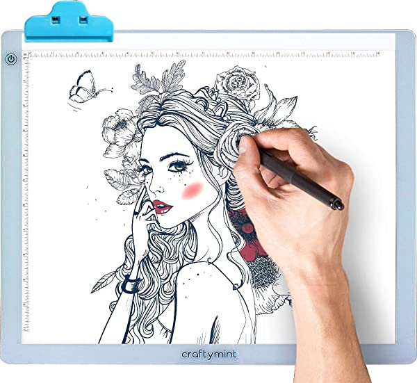 LED Light Pad by Craftymint - Large Ultra Thin 19 Light Up Tracing Tablet - Portable USB Light Box for Diamond Painting and Light Drawing Board - Drawing Accessories and Gifts for Artists