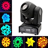 JUDYelc Pocket Spot Gobos Mini Moving LED Head Light 4 Color Light 30W with 9/11 Channel 8 Gobos Effect for Party Disco DJ Show KTV Christmas Celebration Light (Color: Moving Head Light)