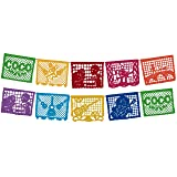 Coco Movie Large Plastic Papel Picado Banner 10 Multicolored Panels 2 Pack