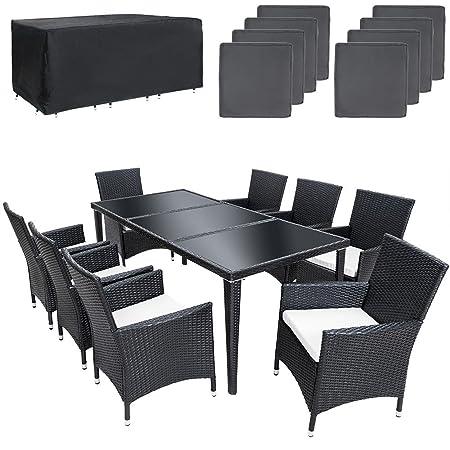 TecTake Salon de jardin en aluminium résine tressée poly rotin table   8 fauteuils   Deux set de housses + habillage pluie inclus   vis en acier inoxydable   -diverses couleurs au choix- (Noir   No. 401161)