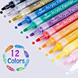 Set of 12 Acrylic Paint Pens for Rock Painting, Ceramic, Porcelain, Glass, Stones, Pebbles, Fabric, Wood & DIY Mug Design. Permanent Water Based Medium Tip Marker Pen (12)