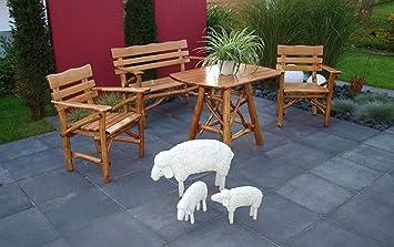 4-tlg. Garnitur aus Knuppelholz in Eiche und Buche massiv mit Holzlasur in Eiche dunkel, 2 Sessel, 2-sitzer Bank und Tisch mit ovaler Tischplatte