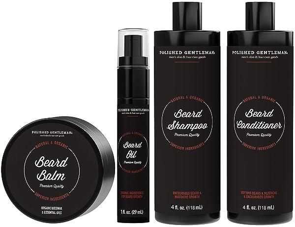 Organic Beard Growth Grooming Kit for Men - with Beard