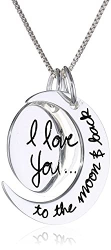 "Sterling Silver ""I Love You To The Moon and Back"" Two Piece Pendant Necklace, 18″ $29"