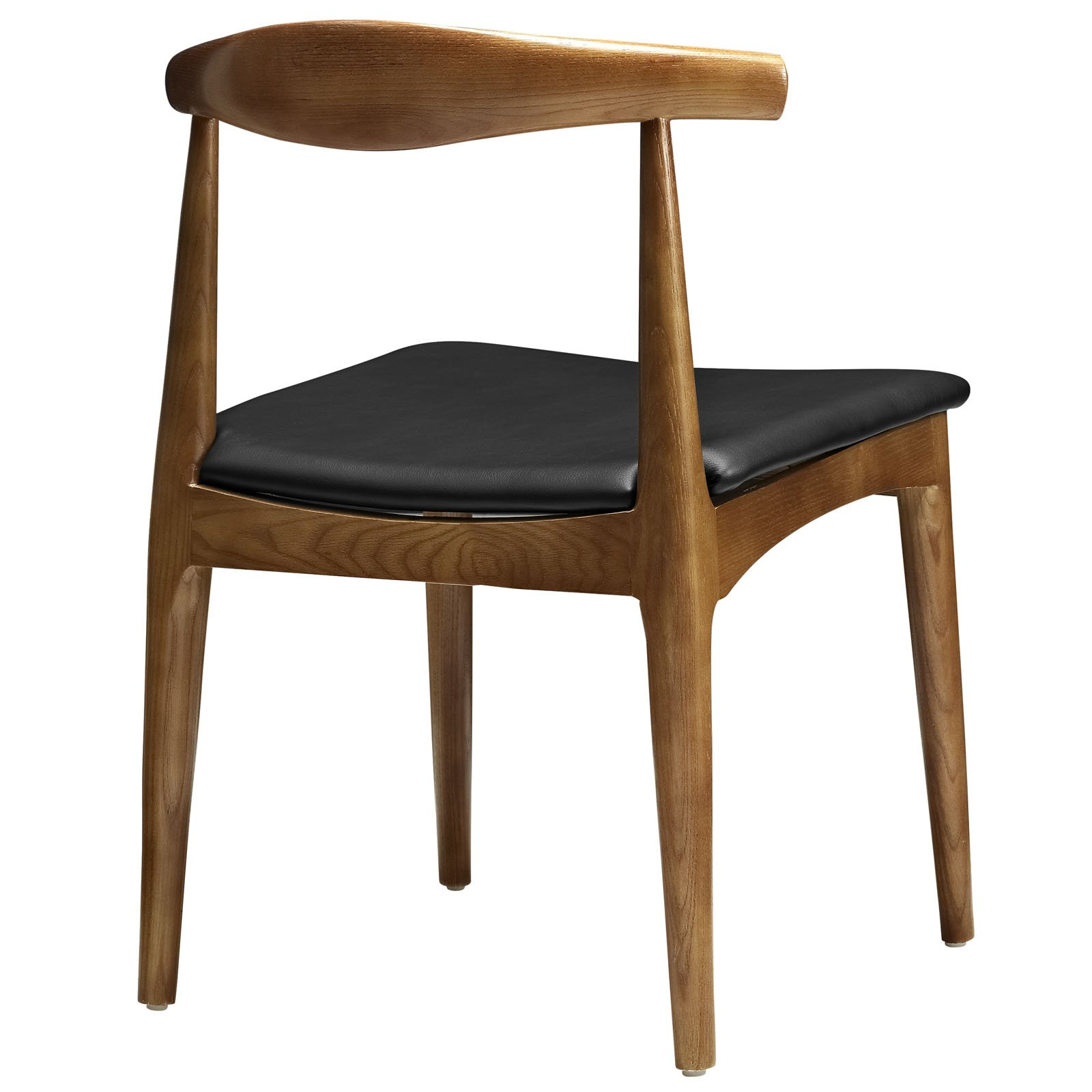 LexMod Hans Wegner Style Elbow Dining Side Chair with Faux Leather