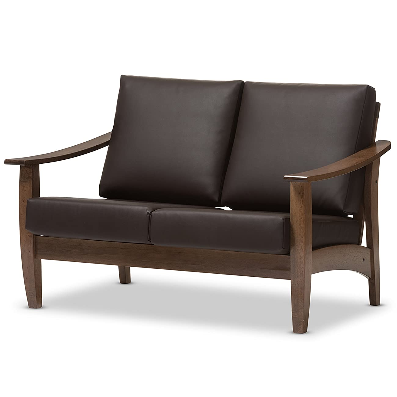 Baxton Studio Philbert Mid Century Modern Walnut Wood and Dark Brown Faux Leather 2 Seater Loveseat Sofa 2