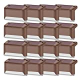 Solar Deck Lights Outdoor, 16 PCS Solar Step LED Waterproof Lighting for Outdoor Deck, Patio, Stair, Yard, Path and Driveway (Warm White) (Color: Brown)