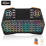 (Running Rainbow Backlit) i8 Plus Backlit Mini Wireless Keyboard with Touchpad Mouse, LNSLNM 2.4GHz Rechargeable Combos Handheld Remote Control for Smart TV, Laptop, PC, Projector, TV Box