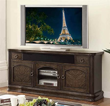 76 in. Premium TV Cabinet in Black Licorice Finish
