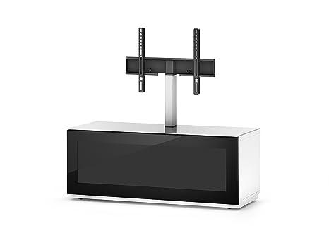 Sonorous STA 111I-WHT-BLK-BW hängende TV-Lowboard mit TV-Aufhängung, Sockel, weißer Korpus, obere Fläche, gehärtetem Weißglas und Klapptur mit IR-durchlässigem Schwarzglas