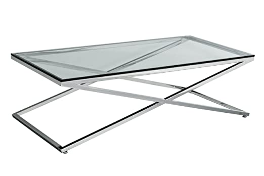 Premier Housewares Coffee Table with Stainless Steel Frame and Clear Tempered Glass - 40 x 130 x 65 cm