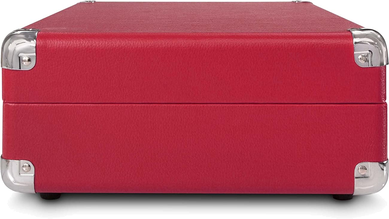 Crosley CR8005A-RE Cruiser Portable 3-Speed Turntable, Red 3