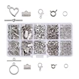 Pandahall 1 Box Jewelry Making Finding Kits with Lobster Clasps/Spring Clasps/Toggle Clasps/Ribbon Ends/Jump Rings (Platinum) (Color: Kits-3)