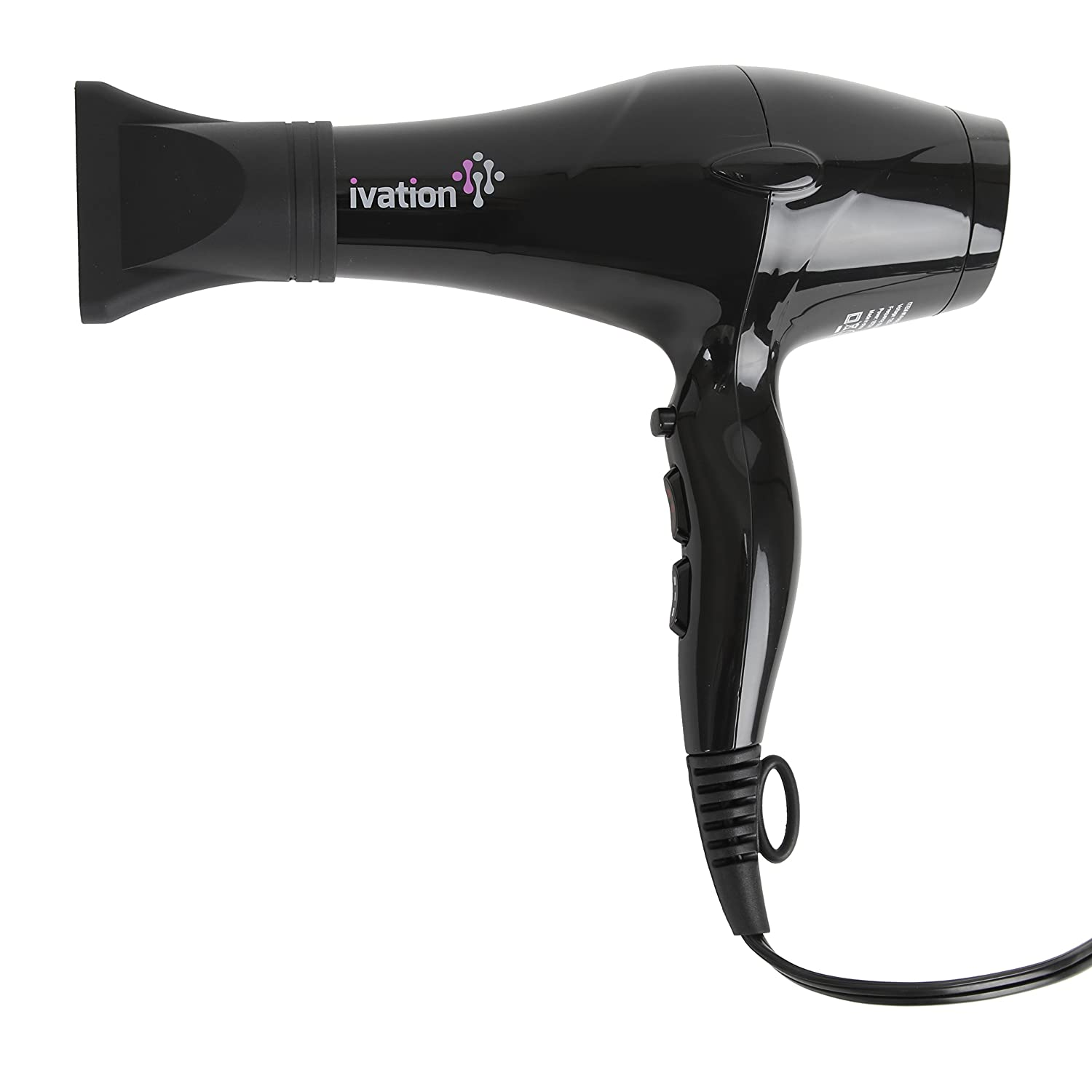 Ceramic Hair Blow Dryer Professional Powerful Turbo Blower 1875 Watts - Salon Quality Shine - 3 Heat - Cold Levels - 2 Speed Levels - 2 Nozzles - Lock Button - Extra-long Cord with Hang Ring