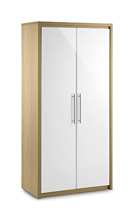 Julian Bowen Stockholm 2 Door All Hanging Wardrobe, Oak/White Gloss