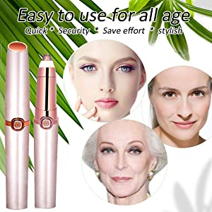 Eyebrow Trimmer for Women Eyebrow Hair Remover Electric Painless Ficial Hair Remover(Battery NOT Included) (Rose Gold New) (Color: Rose Gold New)