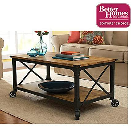 Better Homes & Gardens Coffee Table Rustic Country Antiqued W Casters Black Pine Finish