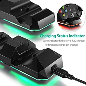 Xbox One (S) Xbox One X Dual Charging Dock Charger Station with 2 Rechargeable 600 mAh Batteries and USB Cable For Xbox One Wireless Controller