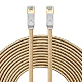 Cat 7 Ethernet Cable, Flat Cat 7 RJ45 LAN Network Cable High Speed Durable Nylon Braid STP with Gold Plated Plug (65FT/20M, Nylon Braid - Golden) (Color: Length:65FT/20M, Tamaño: 65 feet)