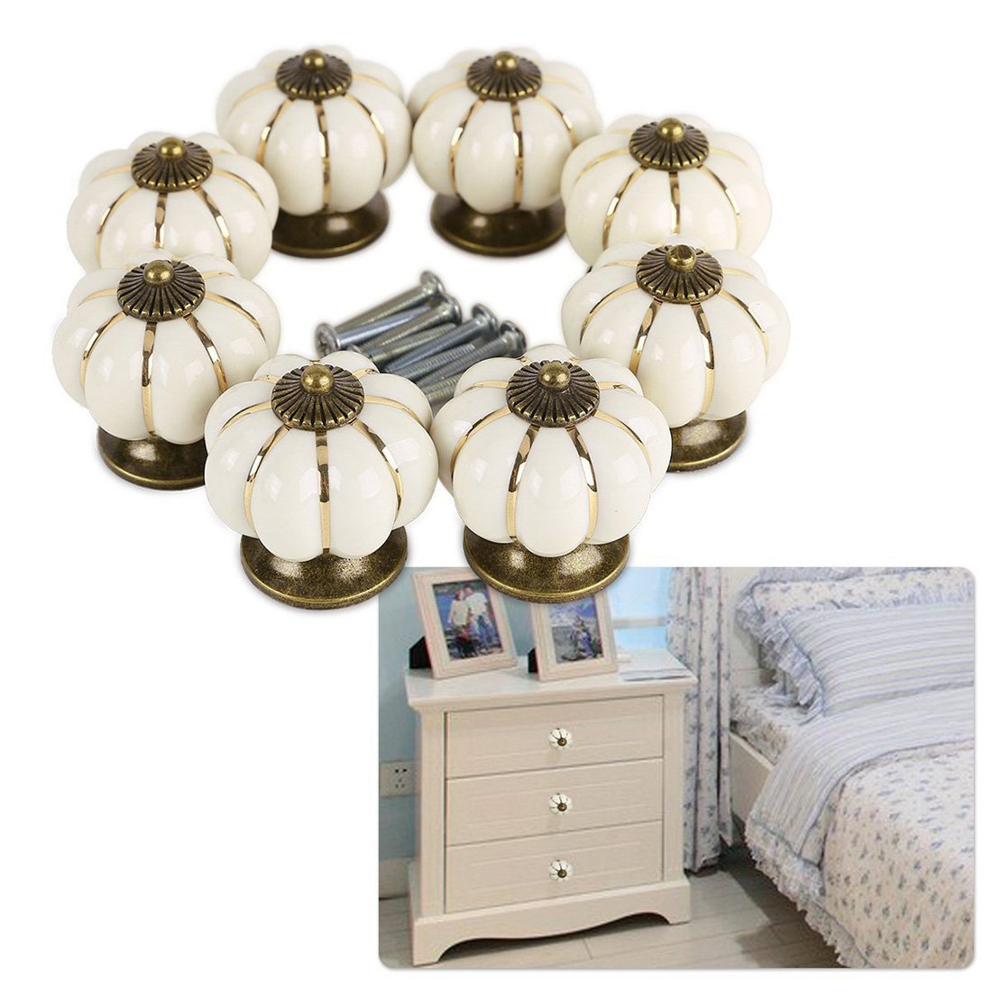 Pumpkin Ceramic Drawer Knobs, YIFAN Set of 10 Cabinet Pulls Dresser Cupboard Door Handles - White 1
