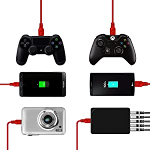2 Pack 10ft PS4 Controller Charging Cable Sync Cord, Play and Charger Micro USB Cable for Playstation 4/ DualShock 4/ PS4 Slim/ PS4 Pro/Xbox One/Xbox One S/Xbox One Elite/Xbox One X Controllers (Color: Red, Tamaño: 10 feet)