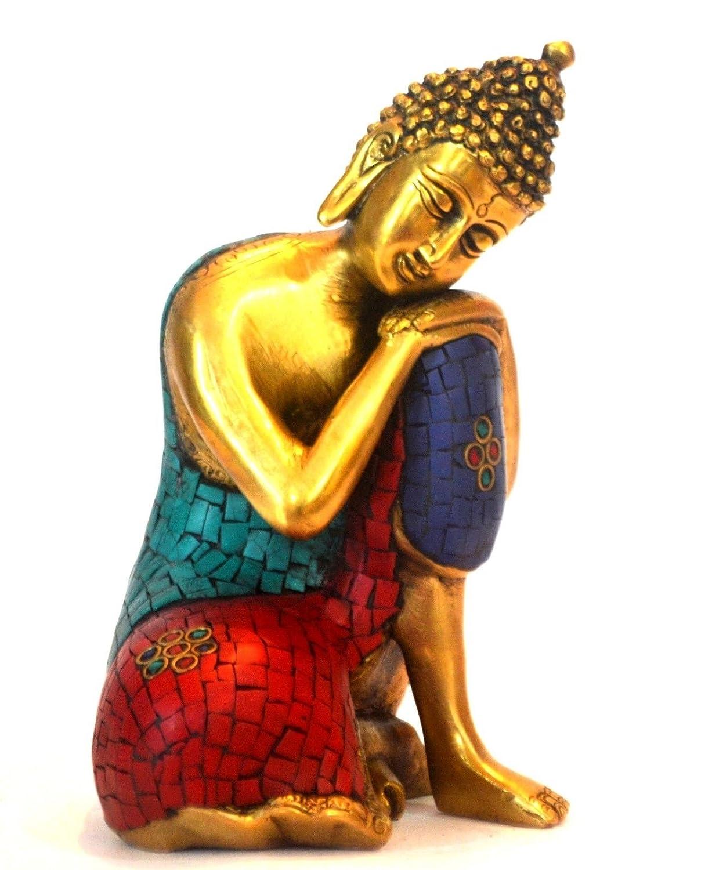 large thinking buddha statue turquoise gemstone brass meditating bodhi figurine