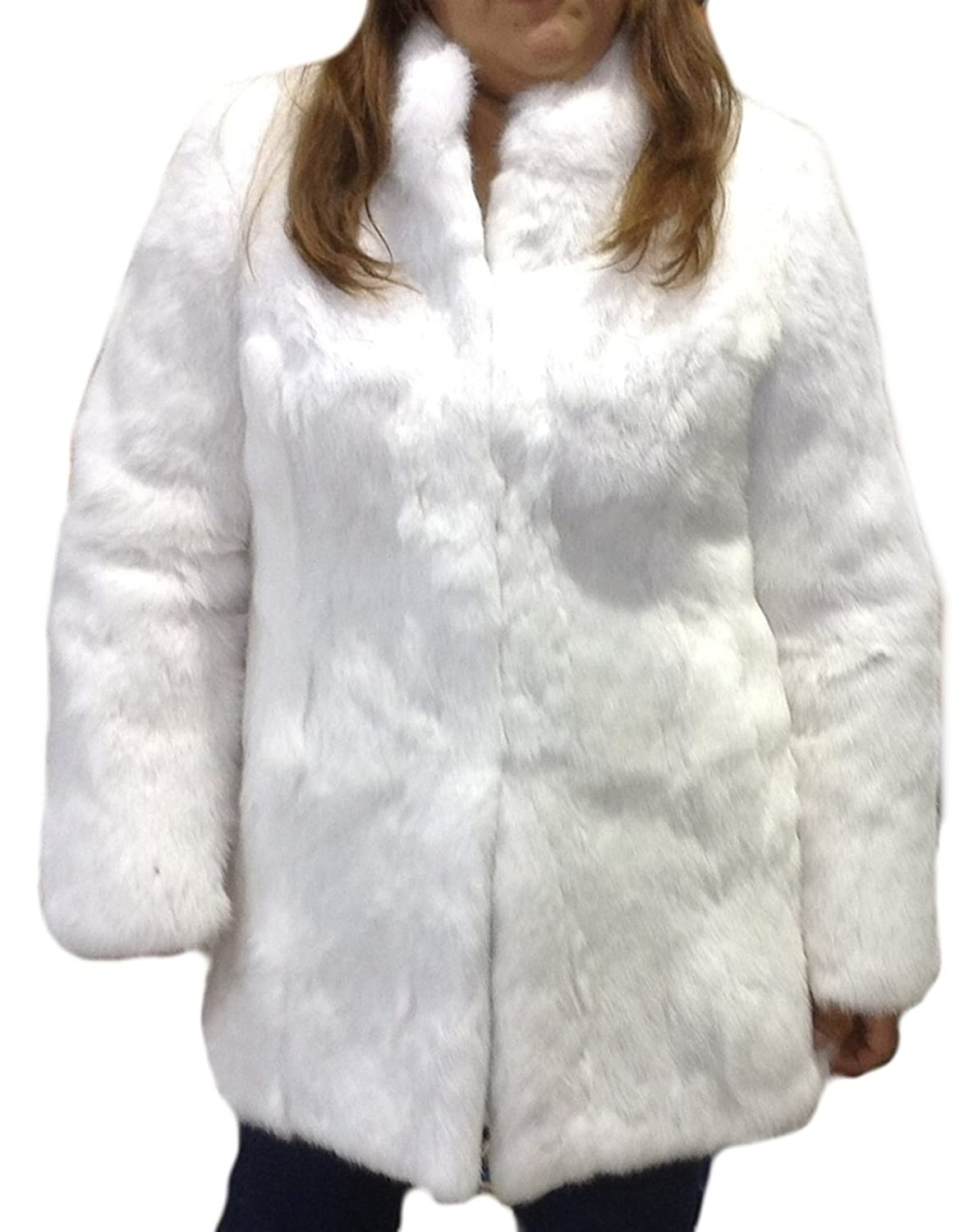 Alpacaandmore Damen Chinchilla Rabbit Maxi Pelzjacke Weiss