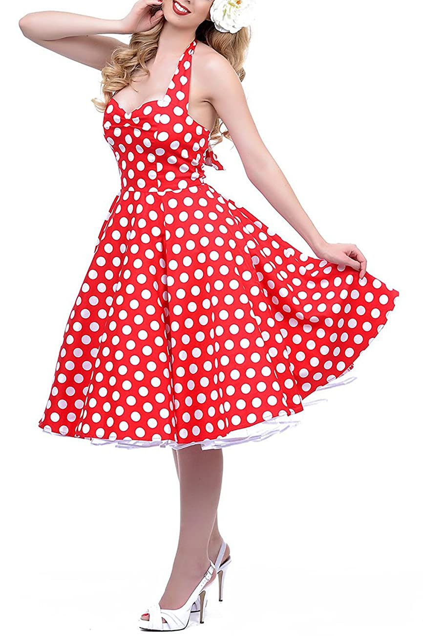 BI.TENCON 1950s Halter Style Vintage Polka Dot Swing Party Dress 2