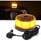 Xprite Sunbeam Series Amber/Yellow Emergency Caution Warning Rotating Revolving Strobe Beacon Light, with Magnetic Mount, 14 Modes 16W 240 LED for 12v Vehicle Truck Snow Plow (Color: Amber)
