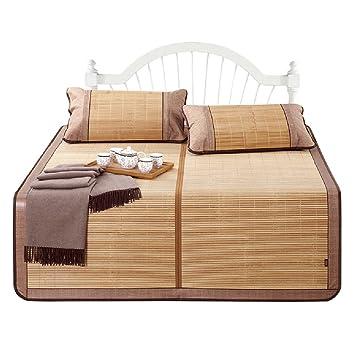 Bambú estera del verano Plegable Estera de dormir fresca Casa Estera de bambú Con 2 fundas de almohada de bambú ( Tamaño : 150*198cm )