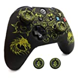 Xbox One Controller Skin, BRHE Anti-Slip Silicone Cover Protector Case Accessories Set for Microsoft Xbox 1 Gamepad Joystick with 2 Thumb Grips Caps (Yellow) (Color: yellow)