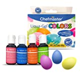Easter Egg Decorating Kit for Kids by Chefmaster, 4-Pack Neon Gel Egg Dye for Easter, 2.8oz Food Coloring Drops for Eggs, Vibrant Liquid Food Dye Gels for Easter Eggs, Assorted Egg Dying Kitchen Kits