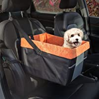 Skybox Dog Booster Seat for Cars with Seat Belt Tether (Black/Orange)