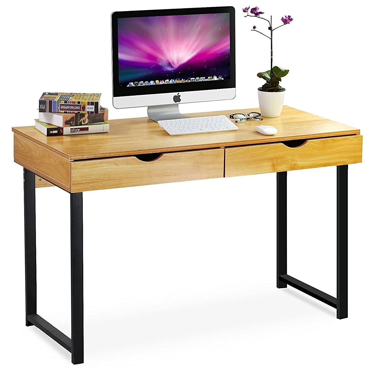 "Computer Desk Pc Laptop Wood Table Home Office Study: Tribesigns Computer Desk Modern Stylish 47"" Home Office"