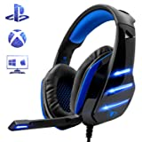 Gaming Headset for PS4 Xbox One PC, Beexcellent Noise Reduction Crystal Clarity 3.5 mm Professional Game Headphones with Microphone for Laptop Tablet Mac … (blue) (Color: blue)