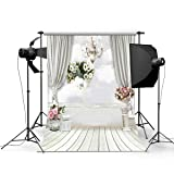 DODOING 5x7ft Indoor Room Scene Wedding Photo Backgrounds Flowers & Curtain & Chandelier Wood Floor Photography Backdrops Studio Props for Children Baby (Color: Flowers & Curtain & Chandelier, Tamaño: 1.5x2.1m-(5x7ft))