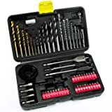 INTOO 63Pcs Drill and Drive Bit Set with Titanium Drill Bit for Metal Wood and Plastic In Storage Case