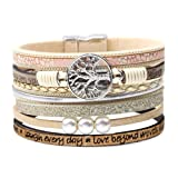 DESIMTION Wrap Boho Multilayer Leather Wide Cuff Handmade Wristbands Wrist Braided Magnetic Buckle Casual Bangle Bracelet for Women, Teen Girl, Boy Gift (A-Beige) (Color: A-Beige)
