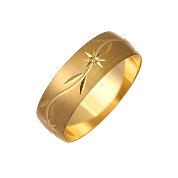 9ct Yellow Gold Star And Leaf Design 7mm Wedding Ring