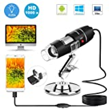 USB Microscope 8 LED USB 2.0 Digital Microscope, 40 to 1000x Magnification Endoscope Mini Camera with OTG Adapter and Metal Stand, Compatible with Mac Window 7 8 10 Android Linux by Sunnywoo (Black 1) (Color: New Version (Black))