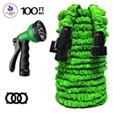 Garden Hose Expand Garden Hose with Triple Layer Latex Core 3/4 ABS Aluminum Alloy Fittings 8 Function Spray Nozzle On/Off Valve Extra Strength Fabric 100 FT Garden Hose for All Your Watering Need (Color: Green, Tamaño: 100 FT)