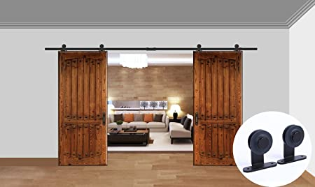 "CCJH 8ft 96"" T Shaped Modern Sliding Barn Wood Door Closet Hardware Track Kit for 2 Doors"