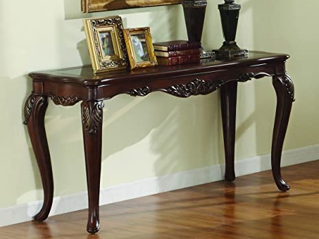 Ella Martin Brown Cherry Glass Top Sofa Table By Homelegance