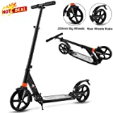 Aceshin Scooter for Adults/Teens/Kids, 200mm Big Wheels Scooter Easy Folding Lightweight Height Adjustable Rear Fender Brake Scooter Support 220lbs (Black) (Color: Black)
