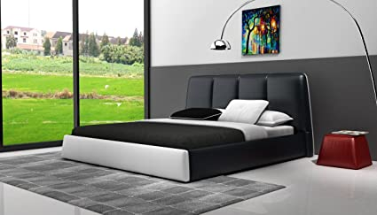 Modrest D536 Modern Black & White Bonded Leather Bed