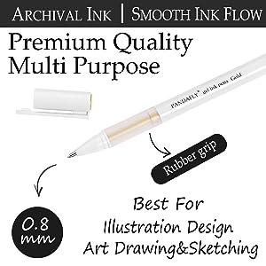 White Gold Silver Gel Pens, PANDAFLY 3 Colors Gel Ink Pen Set, Archival Ink Fine Tip Sketching Pens For Illustration Design, Art Drawing, Black Paper Drawing, Adult Coloring Book, Pack of 6 (Color: 6Pcs Gel Pens)