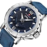 NAVIFORCE Luxury Men's Casual Sport Waterproof Quartz Watches Leather Band Silver Blue Wristwatch for Date and Week Display