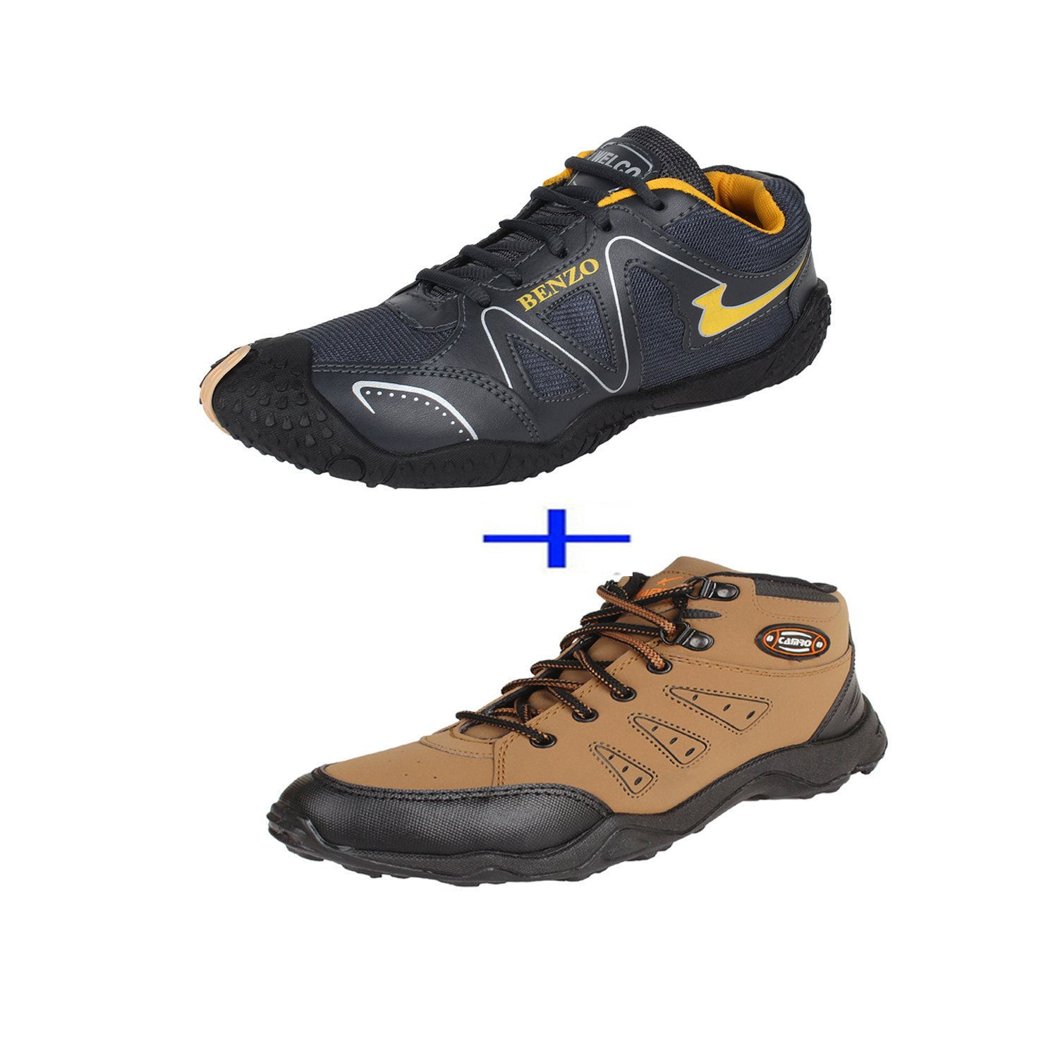 Earton Pair of Shoes Grey & Brown combo Sport Shoes With Casual Shoes